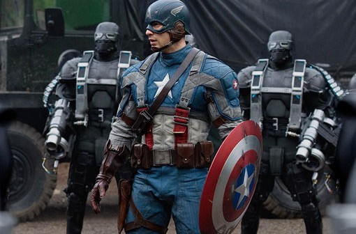"Chris Evans as Captain America in the upcoming Marvel flick, ""Captain America: The First Avenger""."