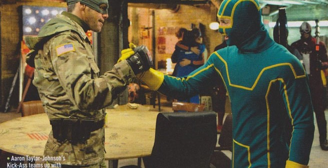 """Colonel Stars and Stripes"" with ""Kick-Ass"" in ""Kick-Ass 2"""